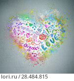 Creative valentine grunge background. Graffiti heart splatter on a wall. Стоковое фото, фотограф Kirill Kedrinskiy / Ingram Publishing / Фотобанк Лори