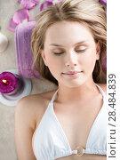 Купить «Top view portrait of young beautiful woman in spa environment», фото № 28484839, снято 7 мая 2013 г. (c) Ingram Publishing / Фотобанк Лори