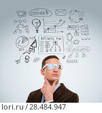 Купить «Adult business man thinking of his plans», фото № 28484947, снято 2 февраля 2013 г. (c) Ingram Publishing / Фотобанк Лори