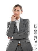 Купить «Half length of young business woman thinking, isolated on white background», фото № 28485471, снято 2 февраля 2013 г. (c) Ingram Publishing / Фотобанк Лори