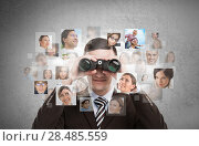 Купить «Human resources, CRM, assessment center and social media concept - business man looking for employees through binoculars. Lots of people portraits around him», фото № 28485559, снято 22 сентября 2018 г. (c) Ingram Publishing / Фотобанк Лори