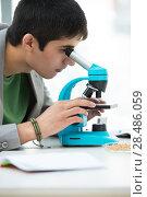 High School students. Young handsome male student peering through microscope in science classroom. Стоковое фото, фотограф Kirill Kedrinskiy / Ingram Publishing / Фотобанк Лори