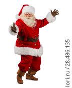 Купить «Santa Claus gesturing his hand isolated over white background. Presenting something. Full length portrait», фото № 28486135, снято 12 января 2013 г. (c) Ingram Publishing / Фотобанк Лори