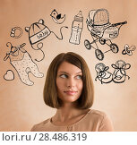 Купить «Young woman thinking of her pregnancy plans closeup face portrait and sketches overhead», фото № 28486319, снято 18 января 2014 г. (c) Ingram Publishing / Фотобанк Лори