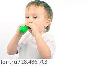 Купить «Little boy blowing up the ballon», фото № 28486703, снято 18 марта 2011 г. (c) Ingram Publishing / Фотобанк Лори
