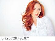 Купить «Beauty portrait. Red haired model with sensual look», фото № 28486871, снято 25 марта 2011 г. (c) Ingram Publishing / Фотобанк Лори