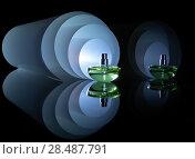 Купить «Флакон духов на фоне спиралевидного светящегося рулона. Идея для парфюмерной рекламы», фото № 28487791, снято 12 мая 2018 г. (c) Светлана Ельцова / Фотобанк Лори