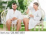 Купить «woman spending romantic day with husband outdoors», фото № 28487851, снято 24 апреля 2018 г. (c) Яков Филимонов / Фотобанк Лори