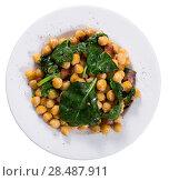 Купить «Top view of chickpeas with spinach and bacon», фото № 28487911, снято 7 марта 2018 г. (c) Яков Филимонов / Фотобанк Лори