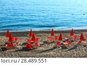 Купить «Tyrrhenian sea beach, Campania, Italy», фото № 28489551, снято 21 января 2019 г. (c) Юрий Брыкайло / Фотобанк Лори