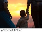 Купить «Dad and mom raise the baby in the air, the family has fun - silhouette», фото № 28489631, снято 23 мая 2018 г. (c) Константин Шишкин / Фотобанк Лори