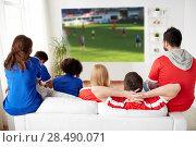 Купить «friends or football fans watching soccer at home», фото № 28490071, снято 14 августа 2016 г. (c) Syda Productions / Фотобанк Лори