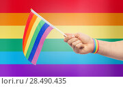Купить «hand with gay pride rainbow flag and wristband», фото № 28490435, снято 2 ноября 2017 г. (c) Syda Productions / Фотобанк Лори