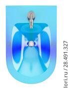 Купить «Top view of blue glass bidet isolated on white background», фото № 28491327, снято 16 октября 2018 г. (c) Ingram Publishing / Фотобанк Лори