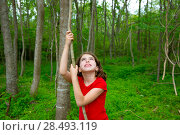 Купить «Happy kid girl playing in forest park jungle with liana looking up», фото № 28493119, снято 21 апреля 2019 г. (c) Ingram Publishing / Фотобанк Лори