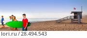 Купить «Surfer teenagers boys and girls walking on California beach at Santa Monica», фото № 28494543, снято 20 июня 2019 г. (c) Ingram Publishing / Фотобанк Лори