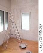 Купить «House indoor improvements plater tools and ladder in real situation», фото № 28495027, снято 19 января 2019 г. (c) Ingram Publishing / Фотобанк Лори