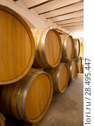Купить «Wine wooden oak barrels stacked in a row at Mediterranean winery», фото № 28495447, снято 4 сентября 2013 г. (c) Ingram Publishing / Фотобанк Лори