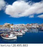 Купить «Ciutadella Menorca marina Port view and Ayuntamiento Town hall Balearic Islands», фото № 28495883, снято 25 мая 2013 г. (c) Ingram Publishing / Фотобанк Лори
