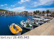 Купить «Fornells Port in Menorca marina boats Balearic islands of Spain», фото № 28495943, снято 29 мая 2013 г. (c) Ingram Publishing / Фотобанк Лори