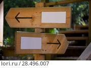 Купить «Wooden road sign with two opposite arrow directions with blank copy space», фото № 28496007, снято 25 мая 2013 г. (c) Ingram Publishing / Фотобанк Лори
