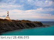 Купить «Cap de Favaritx sunset lighthouse cape in Mahon at Balearic Islands of Spain», фото № 28496015, снято 28 мая 2013 г. (c) Ingram Publishing / Фотобанк Лори