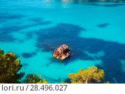 Купить «Cala Macarella Ciutadella Menorca turquoise Mediterranean sea in Balearic islands», фото № 28496027, снято 25 мая 2013 г. (c) Ingram Publishing / Фотобанк Лори