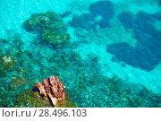 Купить «Cala Macarella Menorca turquoise Mediterranean sea in Balearic islands», фото № 28496103, снято 25 мая 2013 г. (c) Ingram Publishing / Фотобанк Лори
