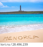 Menorca Punta Prima far illa del Aire island lighthouse in Balearic islands. Стоковое фото, фотограф Tono Balaguer / Ingram Publishing / Фотобанк Лори