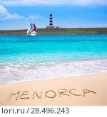 Купить «Menorca Punta Prima far illa del Aire island lighthouse in Balearic islands», фото № 28496243, снято 30 мая 2013 г. (c) Ingram Publishing / Фотобанк Лори