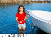 Купить «Kid girl pretending to be a sailor in boat bow at Formentera Balearic Islands», фото № 28496611, снято 22 января 2019 г. (c) Ingram Publishing / Фотобанк Лори