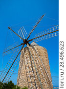 Купить «Formentera Windmill wind mill vintage masonry and wood in Mediterranean Balearic islands», фото № 28496623, снято 16 октября 2018 г. (c) Ingram Publishing / Фотобанк Лори