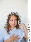 Купить «Funny kid girl scared about his dye hair with foil blue eyes», фото № 28497107, снято 24 августа 2013 г. (c) Ingram Publishing / Фотобанк Лори