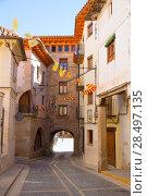 Купить «Mora de Rubielos masonry arches in Teruel Aragon stonewall village Maestrazgo Spain», фото № 28497135, снято 5 октября 2013 г. (c) Ingram Publishing / Фотобанк Лори