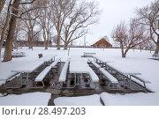 Купить «Nevada USA first snow at the park covering all in white», фото № 28497203, снято 16 апреля 2013 г. (c) Ingram Publishing / Фотобанк Лори