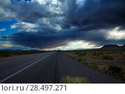 Купить «Stormy clouds dramatic clouds sky in IN5 interestate at Nevada USA», фото № 28497271, снято 17 апреля 2013 г. (c) Ingram Publishing / Фотобанк Лори