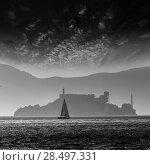 Купить «Alcatraz island penitentiary at sunset backlight sailboat in san Francisco California USA», фото № 28497331, снято 20 апреля 2013 г. (c) Ingram Publishing / Фотобанк Лори