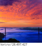 Купить «Golden Gate Bridge San Francisco sunrise California USA from Marin headlands», фото № 28497427, снято 21 апреля 2013 г. (c) Ingram Publishing / Фотобанк Лори