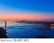 Golden Gate Bridge San Francisco sunrise California USA from Marin headlands (2013 год). Стоковое фото, фотограф Tono Balaguer / Ingram Publishing / Фотобанк Лори