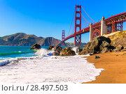 Купить «San Francisco Golden Gate Bridge GGB from Marshall beach in California USA», фото № 28497503, снято 21 апреля 2013 г. (c) Ingram Publishing / Фотобанк Лори