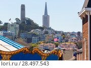 Купить «San Francisco city and Coit Tower from a fairground California USA», фото № 28497543, снято 20 апреля 2013 г. (c) Ingram Publishing / Фотобанк Лори