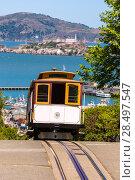 Купить «San francisco Hyde Street Cable Car Tram of the Powell-Hyde in California USA», фото № 28497547, снято 20 апреля 2013 г. (c) Ingram Publishing / Фотобанк Лори