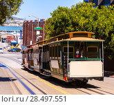 Купить «San francisco Hyde Street Cable Car Tram of the Powell-Hyde in California USA», фото № 28497551, снято 20 апреля 2013 г. (c) Ingram Publishing / Фотобанк Лори