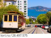 Купить «San francisco Hyde Street Cable Car Tram of the Powell-Hyde in California USA», фото № 28497575, снято 20 апреля 2013 г. (c) Ingram Publishing / Фотобанк Лори
