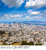 Купить «San Francisco skyline from Twin Peaks in California USA high angle view», фото № 28497651, снято 21 апреля 2013 г. (c) Ingram Publishing / Фотобанк Лори