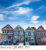 Купить «San Francisco Victorian houses in Haight Ashbury of California USA», фото № 28497751, снято 21 апреля 2013 г. (c) Ingram Publishing / Фотобанк Лори