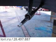Купить «Axis of boat propeller detail on a repair work», фото № 28497887, снято 8 июня 2013 г. (c) Ingram Publishing / Фотобанк Лори