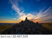 Купить «Barbaria Berberia Cape stone mountain in Formentera at sunset at Balearic Islands», фото № 28497935, снято 4 июня 2013 г. (c) Ingram Publishing / Фотобанк Лори
