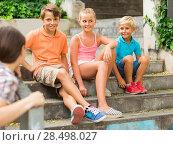 Купить «Portrait of children which are walking in the park.», фото № 28498027, снято 8 июля 2017 г. (c) Яков Филимонов / Фотобанк Лори