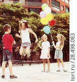 Купить «Kids skipping on elastic rope», фото № 28498083, снято 21 июня 2018 г. (c) Яков Филимонов / Фотобанк Лори